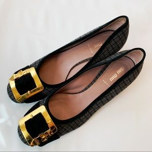 Miu Miu Plaid Tweed Block Heel Shoes Gold Buckle